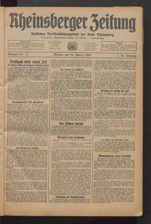 Rheinsberger Zeitung vom 24.01.1938