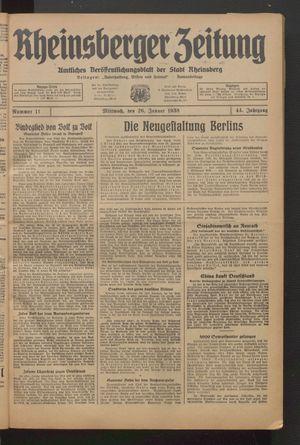 Rheinsberger Zeitung vom 26.01.1938