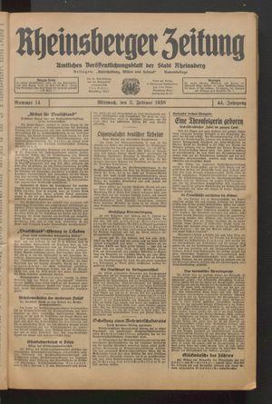 Rheinsberger Zeitung on Feb 2, 1938