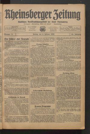 Rheinsberger Zeitung vom 04.02.1938
