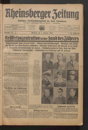 Rheinsberger Zeitung vom 07.02.1938