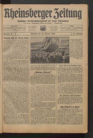 Rheinsberger Zeitung vom 16.02.1938
