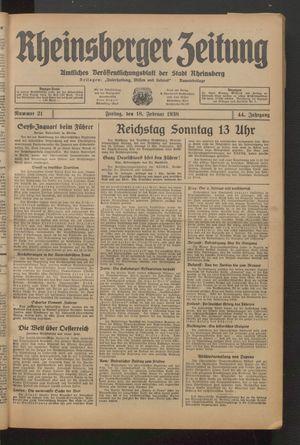 Rheinsberger Zeitung vom 18.02.1938
