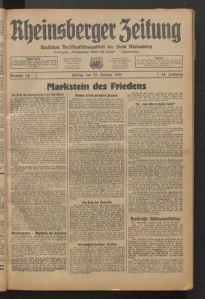 Rheinsberger Zeitung vom 25.02.1938
