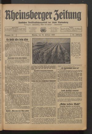 Rheinsberger Zeitung vom 28.02.1938