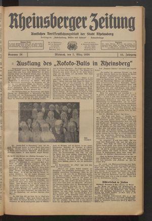 Rheinsberger Zeitung vom 02.03.1938