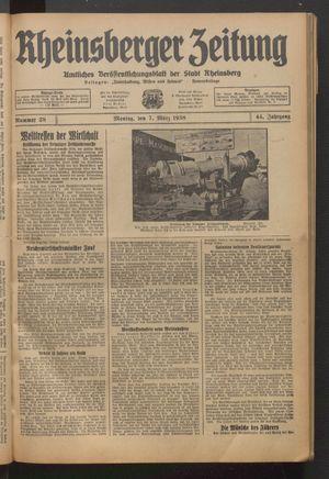 Rheinsberger Zeitung vom 07.03.1938