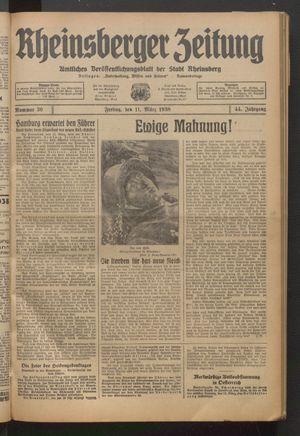 Rheinsberger Zeitung vom 11.03.1938