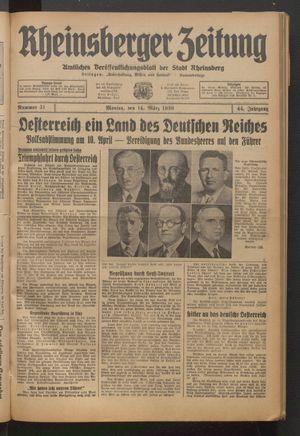 Rheinsberger Zeitung vom 14.03.1938