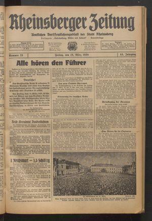 Rheinsberger Zeitung vom 18.03.1938