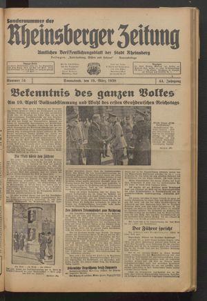 Rheinsberger Zeitung vom 19.03.1938