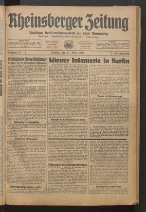 Rheinsberger Zeitung vom 21.03.1938
