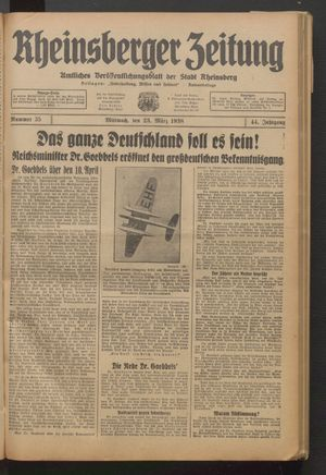 Rheinsberger Zeitung on Mar 23, 1938