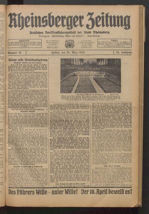 Rheinsberger Zeitung vom 25.03.1938
