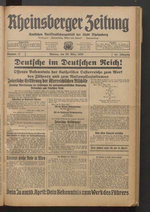 Rheinsberger Zeitung vom 28.03.1938