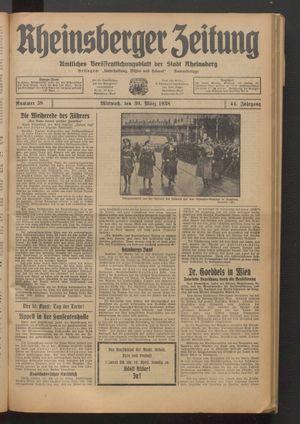 Rheinsberger Zeitung vom 30.03.1938