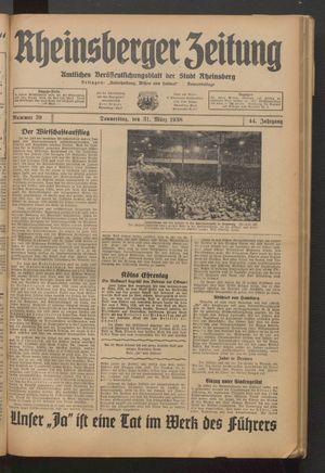 Rheinsberger Zeitung vom 31.03.1938