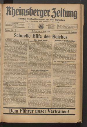Rheinsberger Zeitung vom 01.04.1938