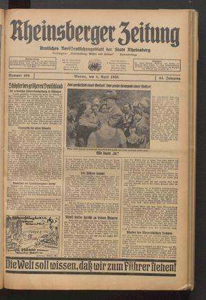Rheinsberger Zeitung vom 04.04.1938