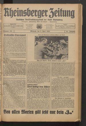 Rheinsberger Zeitung vom 06.04.1938