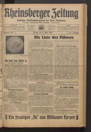 Rheinsberger Zeitung vom 08.04.1938