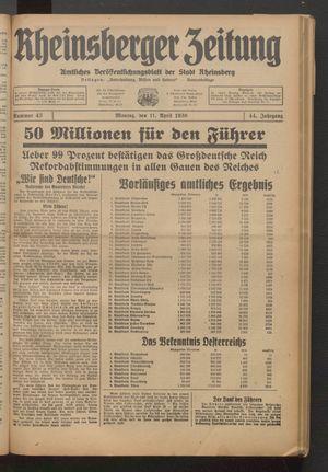 Rheinsberger Zeitung vom 11.04.1938