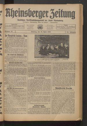 Rheinsberger Zeitung vom 19.04.1938