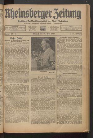 Rheinsberger Zeitung vom 20.04.1938