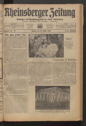Rheinsberger Zeitung vom 22.04.1938