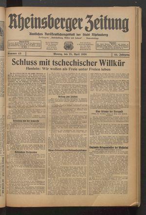Rheinsberger Zeitung on Apr 25, 1938