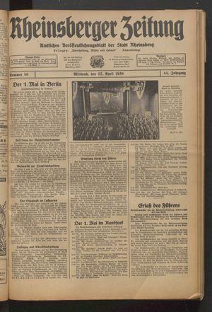 Rheinsberger Zeitung vom 27.04.1938