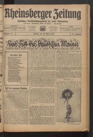 Rheinsberger Zeitung vom 29.04.1938
