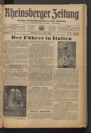 Rheinsberger Zeitung vom 04.05.1938