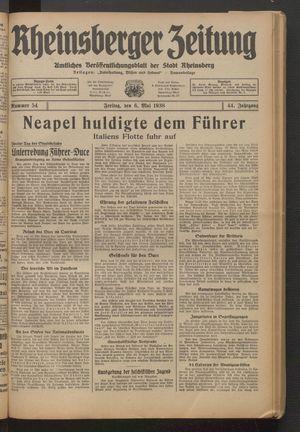 Rheinsberger Zeitung on May 6, 1938