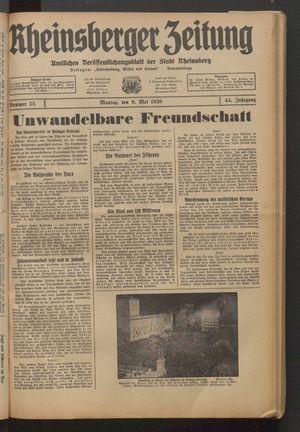 Rheinsberger Zeitung vom 09.05.1938