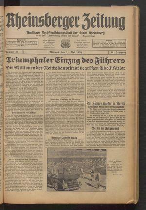 Rheinsberger Zeitung vom 11.05.1938