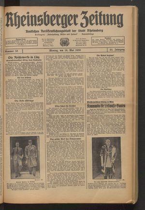 Rheinsberger Zeitung vom 16.05.1938
