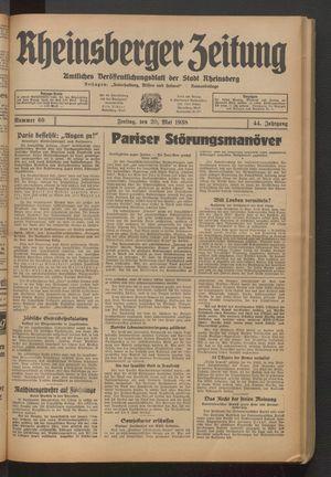 Rheinsberger Zeitung vom 20.05.1938