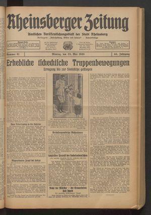 Rheinsberger Zeitung vom 23.05.1938