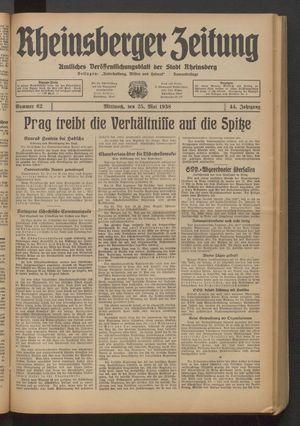 Rheinsberger Zeitung vom 25.05.1938