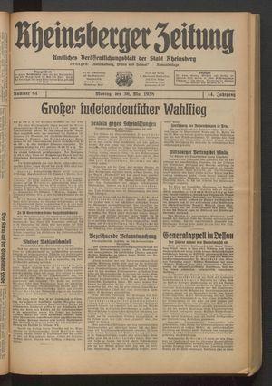 Rheinsberger Zeitung vom 30.05.1938