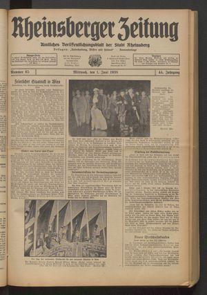 Rheinsberger Zeitung vom 01.06.1938