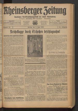 Rheinsberger Zeitung vom 03.06.1938