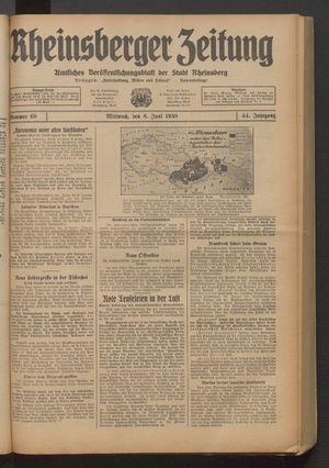 Rheinsberger Zeitung vom 08.06.1938