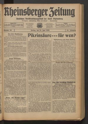 Rheinsberger Zeitung vom 10.06.1938