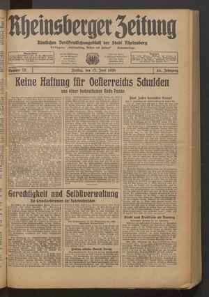 Rheinsberger Zeitung vom 17.06.1938
