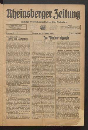 Rheinsberger Zeitung vom 03.01.1939