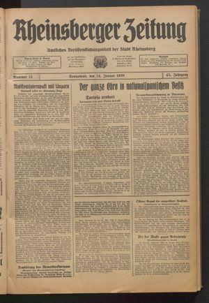 Rheinsberger Zeitung vom 14.01.1939