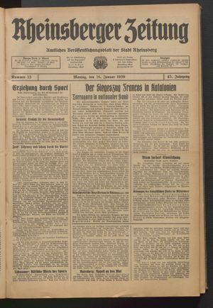 Rheinsberger Zeitung on Jan 16, 1939