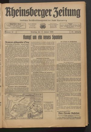 Rheinsberger Zeitung on Jan 17, 1939